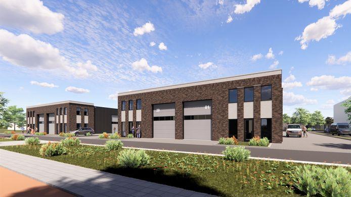 Een impressie van de bedrijfsverzamelgebouwen, dit zijn de modellen die dicht langs de Enschedesestraat worden gebouwd.