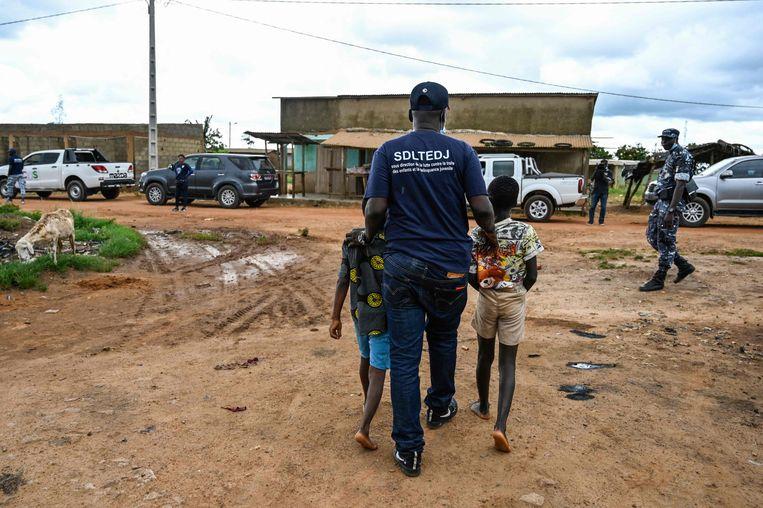 Twee kinderen worden tijdens een inspectie op een cacaoplantage in Ivoorkust door de politie opgepakt omdat ze aan het werk waren. Foto van mei dit jaar. Beeld AFP