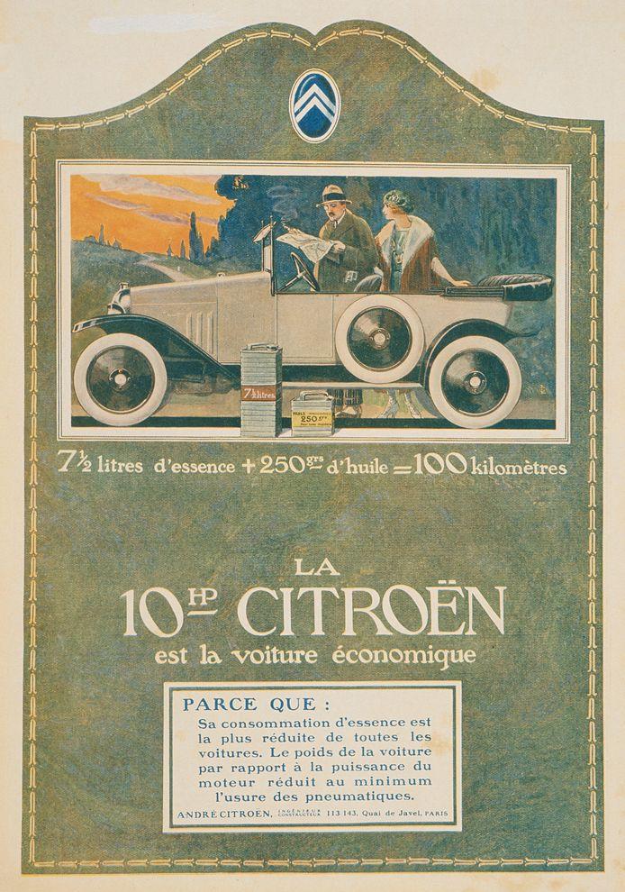 Reclame voor de Citroën 10 HP  Type A in 1919 met de nadruk op de zuinige motor