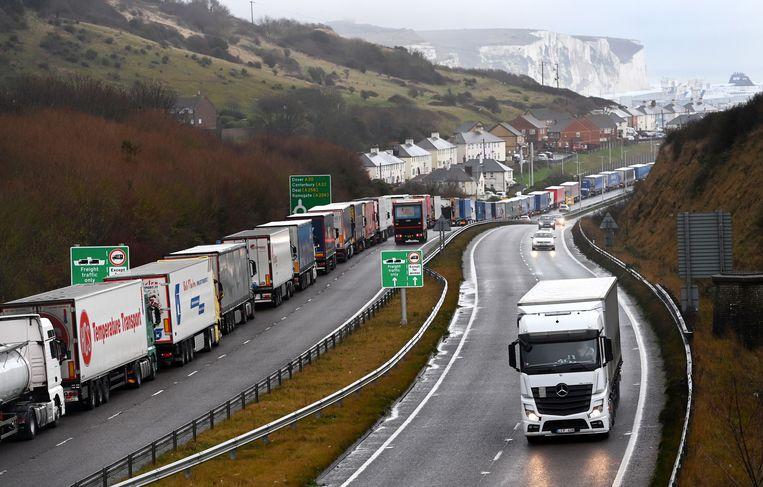 Vrachtwagens bij Dover wachten op de ferry naar het Europese vasteland. Beeld EPA