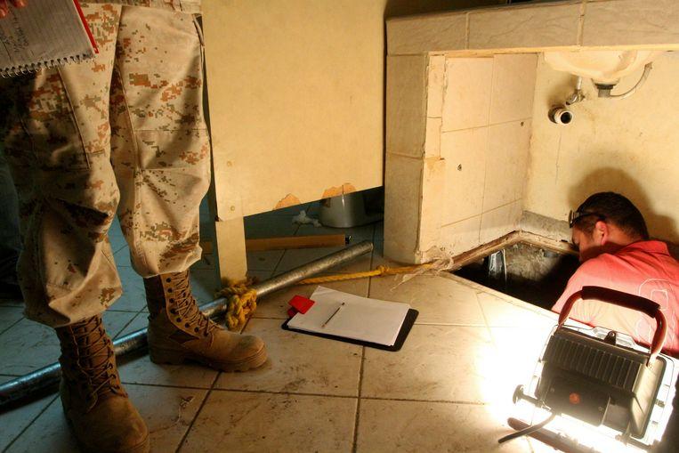 De entree van een tunnel die in juli 2012 werd ontdekt in het industriële park van Otay Mesa. Het werd gebruikt voor de smokkel van wapens, drugs en mensen naar de Verenigde Staten. Beeld REUTERS