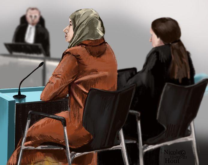 Rechtbanktekening van Fatima H. in de bunker op 11 februari 2021 bij haar inhoudelijke behandeling.