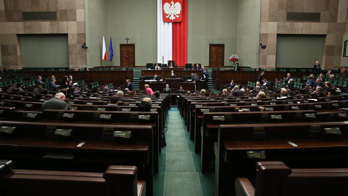 Het Pools parlement waar de omstreden mediawet woensdag werd aangenomen.