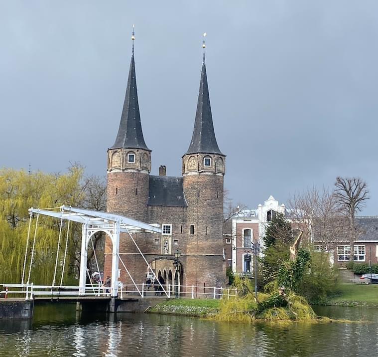 De treurwilg bij de Oostpoort in Delft is niet meer.