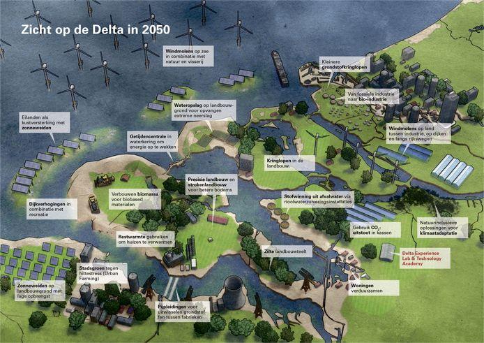 Zo zou Zeeland er in 2050 uit kunnen zien. Dit is een illustratie uit Zicht op de Delta in 2050 van Vizualism Frédérik Ruijs.