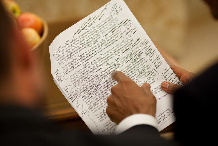 Een toespraak van Obama. Beeld Pete Souza / The White House