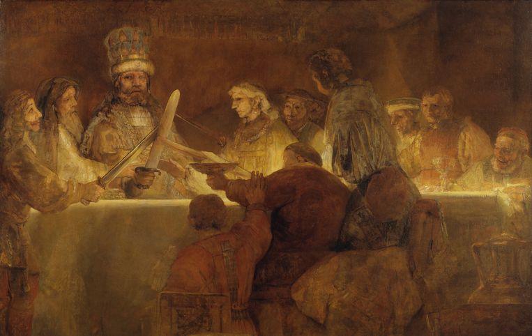 De samenzwering van de Bataven onder Claudius Civilis is een schilderij van de Nederlandse kunstschilder Rembrandt van Rijn dat hij maakte tussen 1661 en 1662. Beeld Nationalmuseum Stockholm