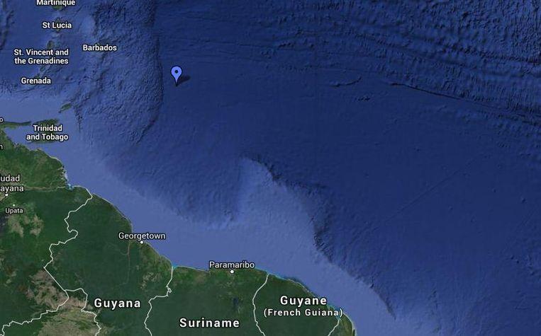 Op dit moment (1 december) ligt de Pelagia nog maar enkele honderden kilometers van Zuid-Amerika. Hier is de oceaan 4 kilometer diep. Beeld Google Maps