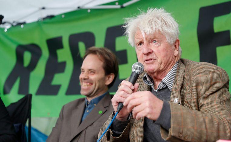 Stanley Johnson, vader van de Britse premier Boris Johnson, tijdens een panelgesprek georganiseerd door Extinction Rebellion in Londen.
