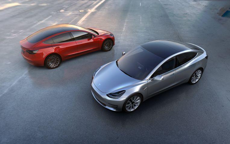 Foto's van Tesla's Model 3. Beeld EPA