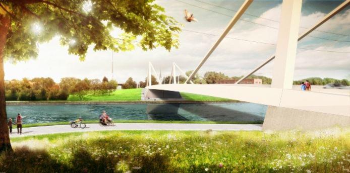De nieuwe brug over het Albertkanaal ter hoogte van de Herenthoutseweg zal er zo uitzien.