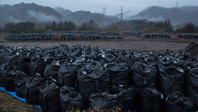 Vandaag ligt het landschap in de regio bezaaid met zakken vol grond die verontreinigd is door de straling. Beeld GETTY