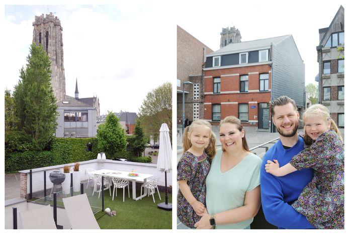Anouk De Vleeshouwer (35), Jan Seberecht (39) en de kinderen Elise (5,5) en Axelle (4)