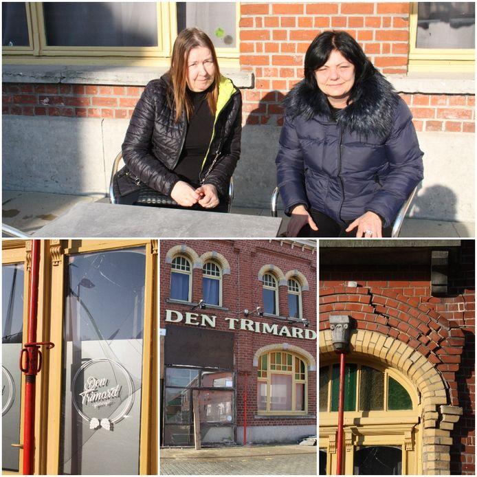 Nieuwe cafébazin Cindy Terryn (links) en vroegere uitbaatster Maddy Hoorelbeke. Onderaan: de gevel van Den Trimard moet gestut worden.