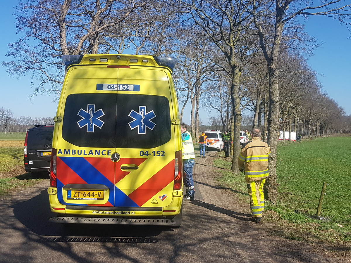Een auto is maandagmiddag door nog onbekende oorzaak tegen een boom gereden aan de J.J. Gorterlaan bij Staphorst.