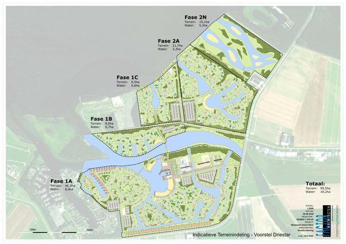Dit is het voorlopige ontwerp dat Driestar vorig jaar presenteerde voor Waterpark Veerse Meer bij Arnemuiden. Inmiddels is een landschapsarchitect gekozen die een definitief ontwerp gaat maken.