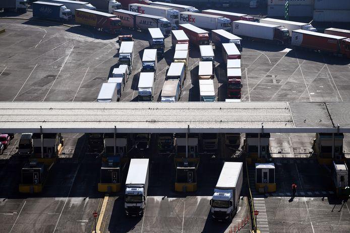 Vrachtwagens bij de douane in het Britse Dover vorig jaar bij een brexit-test. Tienduizend vrachtwagens per dag gaan er dagelijks via Dover van en naar het Europese vasteland. Zonder deal kan dat tot een dagelijkse file van 30 kilometer leiden voor de douane.
