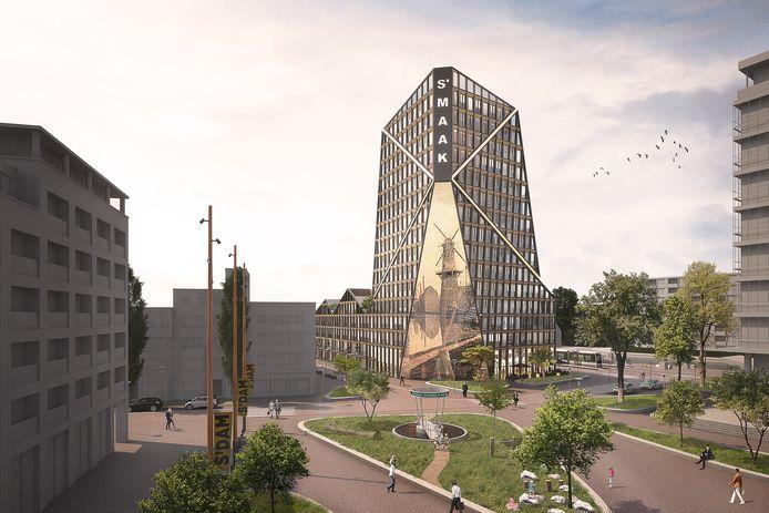 Een artist impression van S'MAAK op de Kop van de Singel in Schiedam.