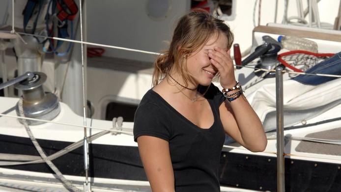 Laura Dekker na aankomst op St. Maarten.