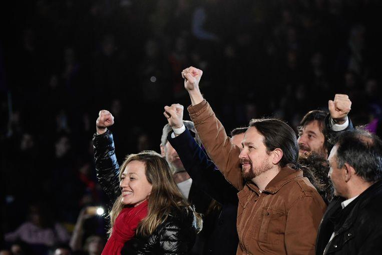 Pablo Iglesias, de leider van Podemos. Beeld AFP