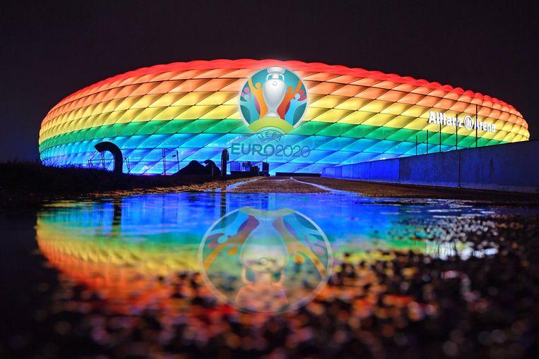 De Allianz Arena in München, waar Hongarije woensdag op bezoek komt. Beeld Hollandse Hoogte / dpa Picture-Alliance