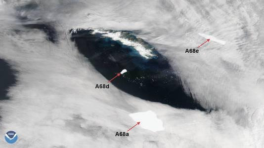 De ijsberg is nu opgesplitst in drie afzonderlijke delen en koerst niet langer op het eiland af.