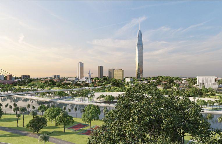 Het ontwerp van de F-toren, die Besix zal bouwen in Abidjan. Beeld Facebook/Besix