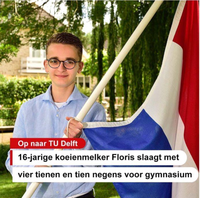 """De 16-jarige Floris Fokker uit Bodegraven geslaagd voor het gymnasium. Zónder dat hij de hele dag in de boeken zit. ,,Met alleen maar school draai je door. Ik melk nu elke middag koeien."""""""