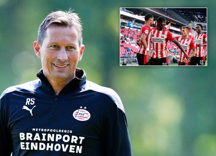 PSV-trainer Roger Schmidt. Inzetje: Cody Gakpo, Noni Madueke, Michal Sadílek en Denzel Dumfries.