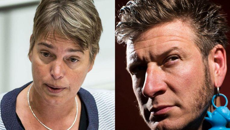 Vlaams minister van Leefmilieu Joke Schauvliege en comedian Wouter Deprez Beeld Belga/Jonas Lampens