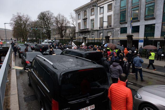 Een stukje van de proteststoet.