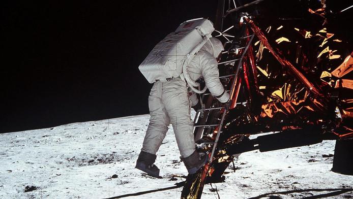 Neil Armstrong tijdens de maanlanding in 1969.