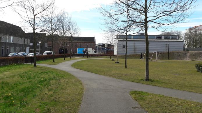 Zicht op het station vanuit het Lumenplantsoen met links de achterzijde van het Deprezgebouw aan de Lange Nieuwstraat.