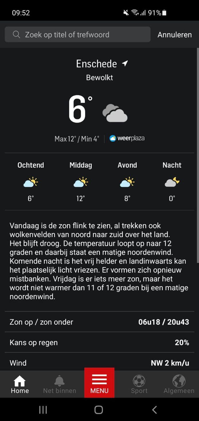 Het weer in de app van Tubantia