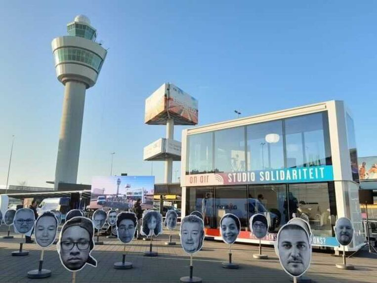De FNV-actie op Schiphol. Beeld FNV