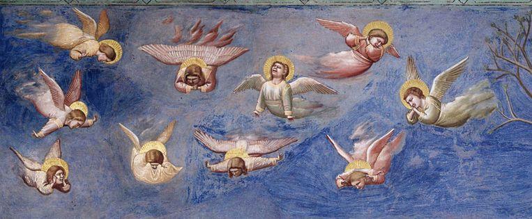 Detail van de engelen van Giotto, Leven van Christus, 1304-06, fresco, Scrovegni Arena kapel, Padua. Beeld Cappella Scrovegni