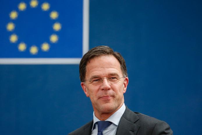 Premier Mark Rutte op de EU-top waar de begroting van de Europese Unie voor de komende jaren wordt besproken.