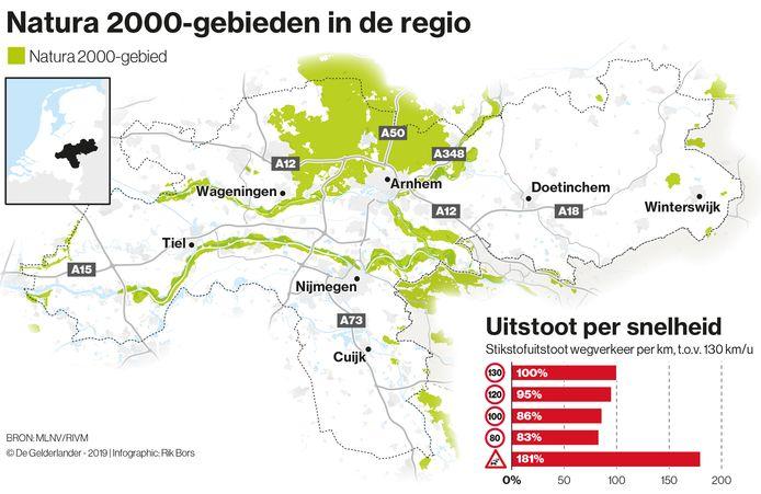 Natura2000-gebieden in Gelderland.