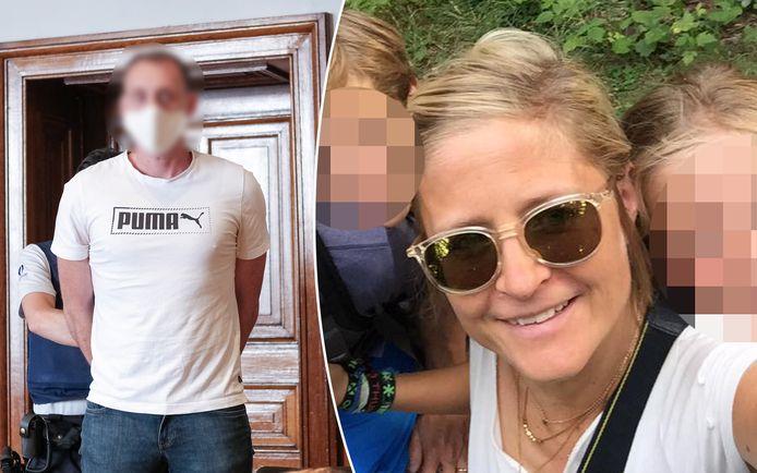 Beschuldigde Xavier Van Dam in de rechtbank. Rechts slachtoffer Wivinne Marion.