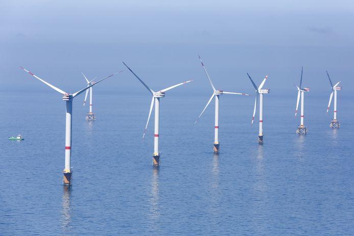 Windmolens van de Thorntonbank Wind Farm, op 30 kilometer voor de kust van Zeebrugge.