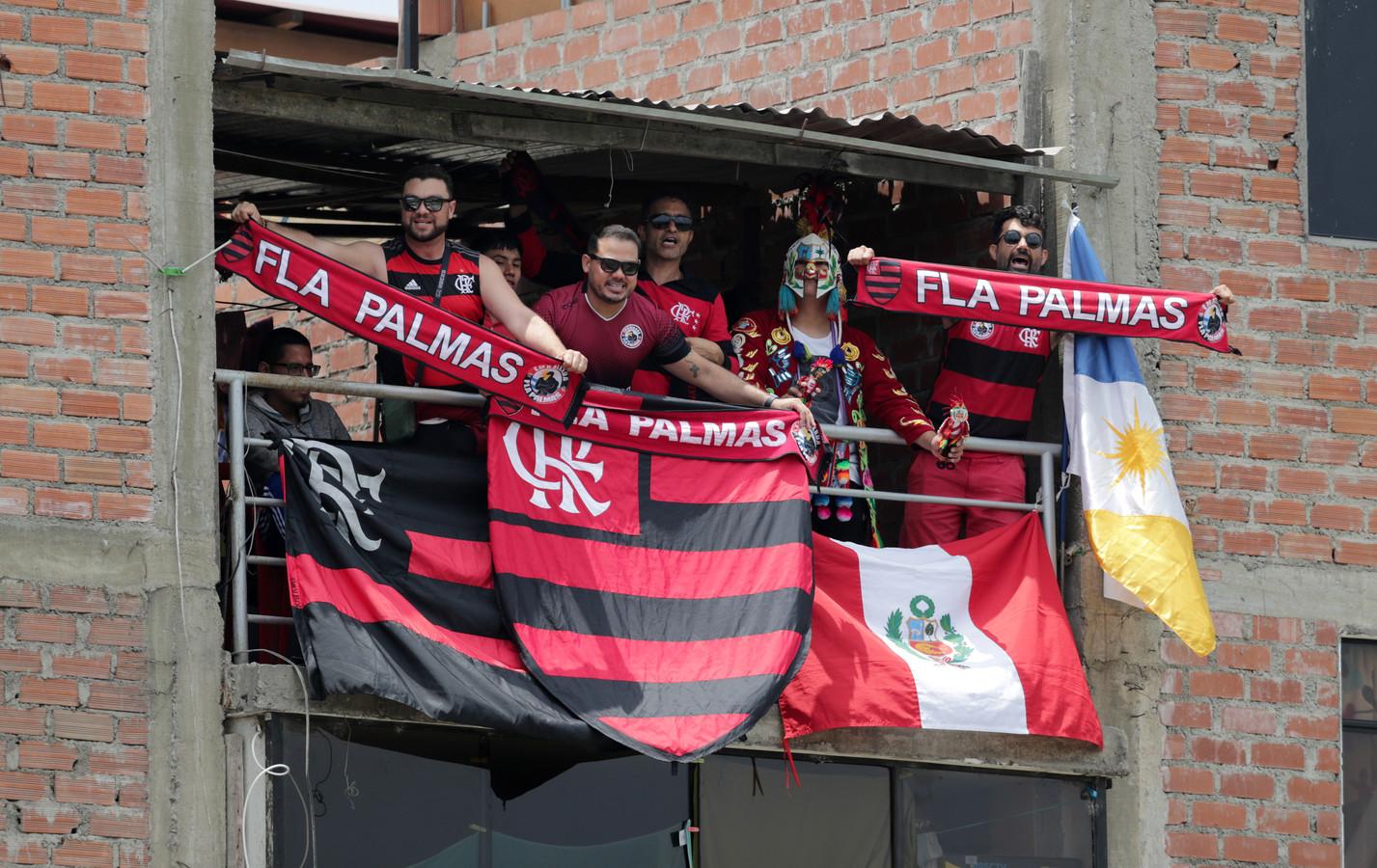 Fans van Flamengo in Lima gisteren.