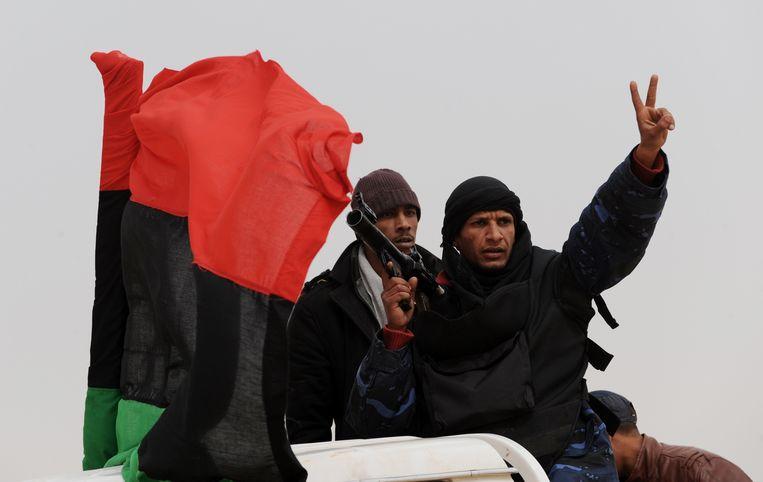 Libische rebellenstrijders. Beeld AFP