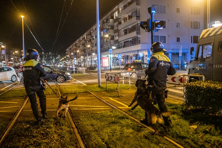 De ME rukt uit met politiehonden in de Amsterdamse wijk Osdorp. Beeld Joris van Gennip