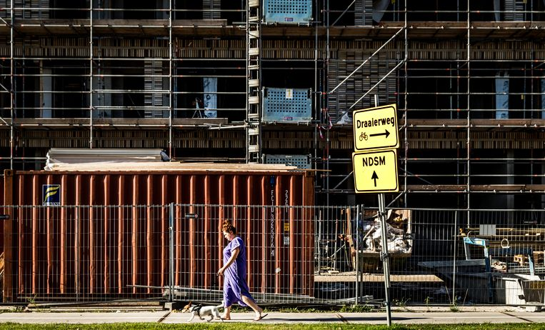 Een bouwproject in Buiksloterham, Amsterdam-Noord.  Beeld Hollandse Hoogte /  ANP