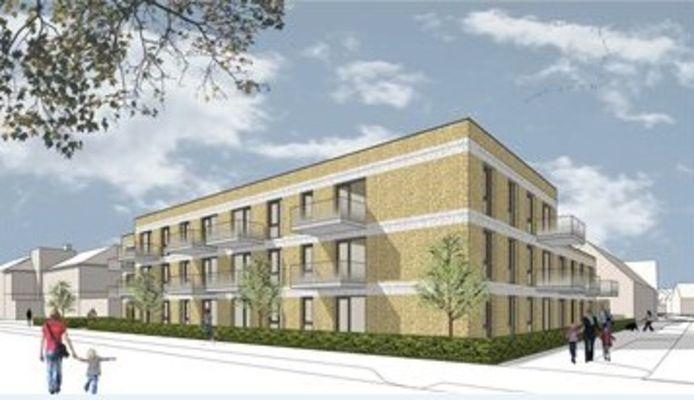 Het bouwplan voor 25 sociale huurappartementen van woningcorporatie Woonbedrijf aan de Koenraadlaan-2e Terborgstraat in Eindhoven.