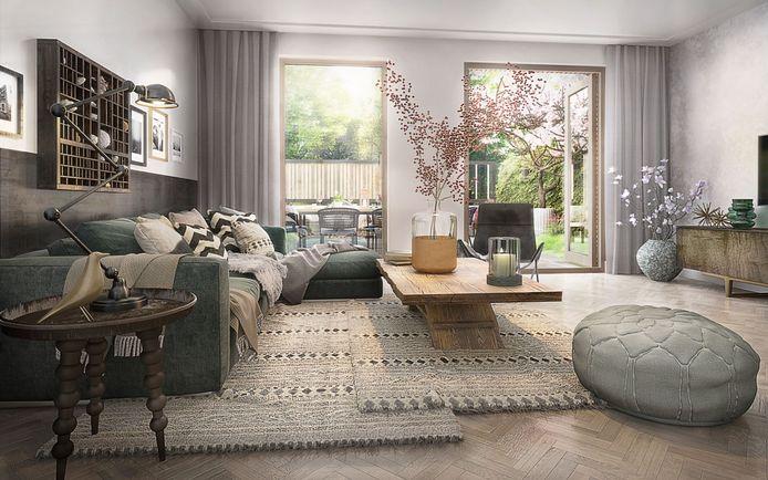 Sfeerimpressie van een woonkamer