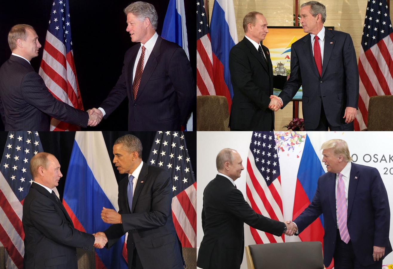 Verzameling van foto's waarop de Russische president Vladimir Poetin te zien is tijdens zijn ontmoetingen met de vier vorige Amerikaanse presidenten.
