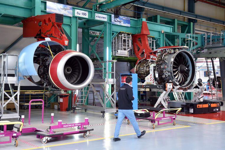 Een motor van een Airbus A320-vliegtuig wordt gebouwd in een Airbus-fabriek in Frankrijk. Beeld AFP