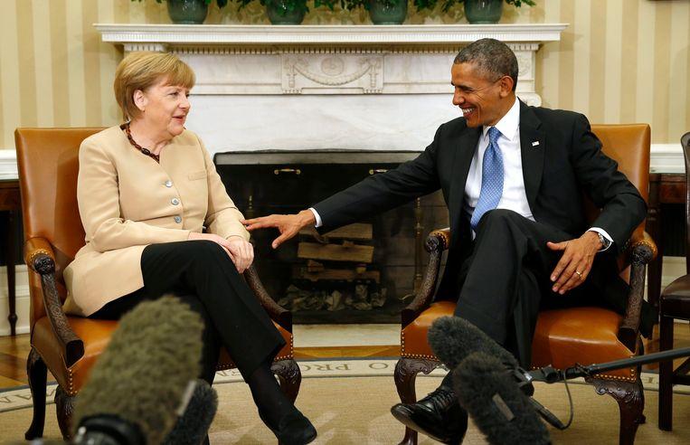 Merkel en Obama in het Witte Huis in 2014. Op 9 februari bezoekt Angela Merkel opnieuw Washington. Ze zal onder andere de aanpak van de Oekraïense crisis met haar ambtsgenoot bespreken. Beeld REUTERS