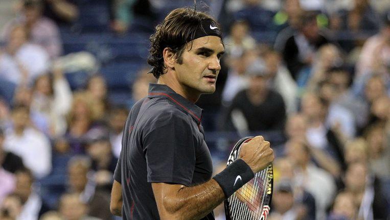 Federer na de match tegen Tsonga. Beeld getty